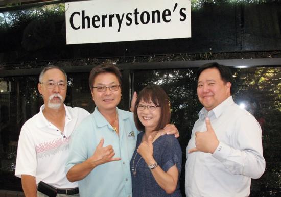 TEAM MANGO: From left, Dennis Igarashi, Leonard Kim, Audrey Kamiya, and Eric Hayashi meet at Cherrystones in Gardena ahead of next Saturday's Mangoes at the Moana Festival.