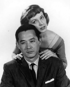 "James Shigeta and Victoria Shaw in a publicity still for ""The Crimson Kimono."""
