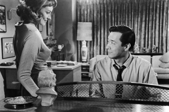 """James Shigeta and Victoria Shaw in a scene from """"The Crimson Kimono."""""""
