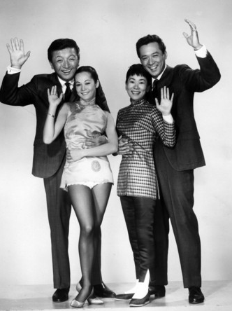 "James Shigeta (right) with ""Flower Drum Song"" co-stars Miyoshi Umeki, Nancy Kwan and Jack Soo."