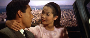 "James Shigeta and Nancy Kwan in a scene from ""Flower Drum Song."""