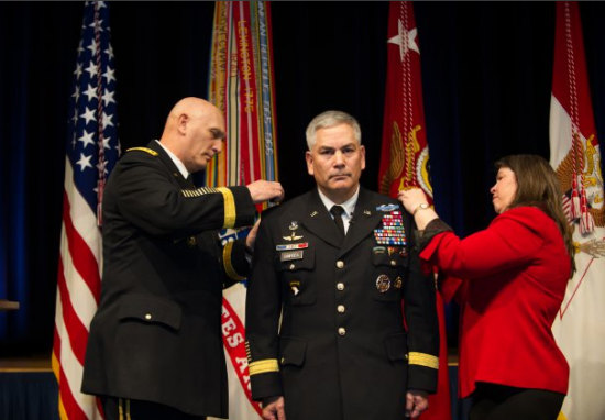 Photo Credit: Staff Sgt. Teddy Wade (Chief of Staff of the Army) U.S. Army Lt. Gen. John Campbell is promoted to the rank of 4-Star General by Army Chief of Staff Gen. Ray Odierno and wife Ann during a ceremony at the Pentagon Auditorium Mar. 8, 2013 in the Pentagon, Va. Campbell assumed duties as the 34th Army Vice Chief of Staff.