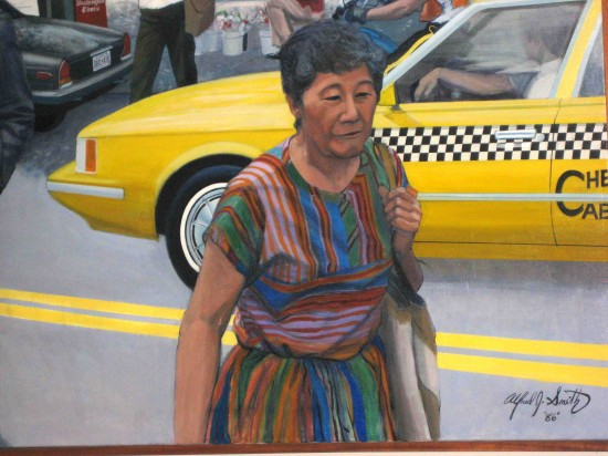 "Grayce Uyehara is depicted in Alfred J. Smith's 1986 painting ""Crossing."""