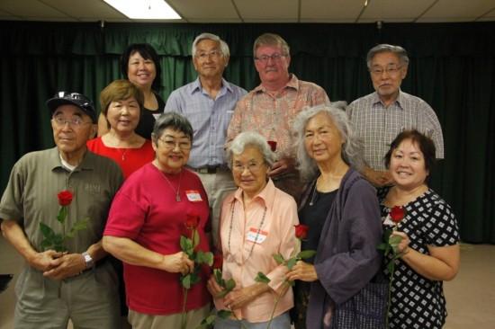 Front row, from left: Ken Furutani, Sumi Yamaguchi, Haru Kuromiya, Jane Nishii, Patty Takayama. Second row, from left: Nancy Oda, Nancy Takayama, Teddy Yamane, David Scott, Min Tonai.