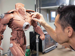 "Hiroshi Katagiri working on a model for ""Pacific Rim."""