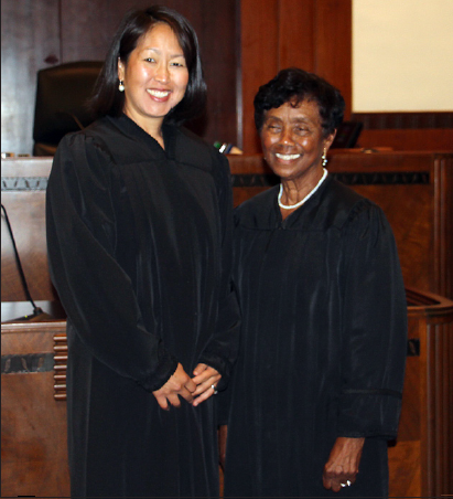 Kenly Kiya Kato was sworn in as a magistrate judge by Federal District Court Judge Consuelo B. Marshall.