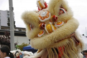 Chinese lion dancers perform each year at the festival.