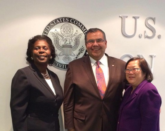 Newly appointed U.S. Commission on Civil Rights members Karen Narasaki (right) and Patricia Timmons-Goodson with Chairman Marty Castro.