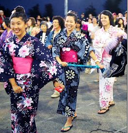 Dancers at Nishihongwanji Obon Festival.