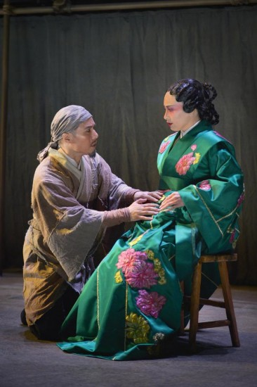 "Country doctor Cheng Ying (BD Wong) confers with Princess Zhao (Marie-France Arcilla) on a scheme to protect her orphan child-to-be in ""The Orphan of Zhao."" (Photo by Kevin Berne/American Conservatory Theater)"