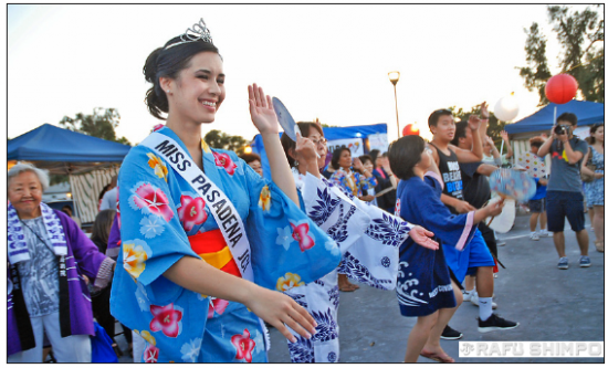 2012 Miss Pasadena JCI dances at the Pasadena Obon Festival. (MIKEY HIRANO CULROSS/Rafu Shimpo)