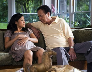 """James Shigeta and Karin in a scene from """"The People I've Slept With."""""""