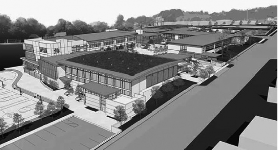 Rendering of the new middle school by HY (Hibser-Yamauchi) Architects.