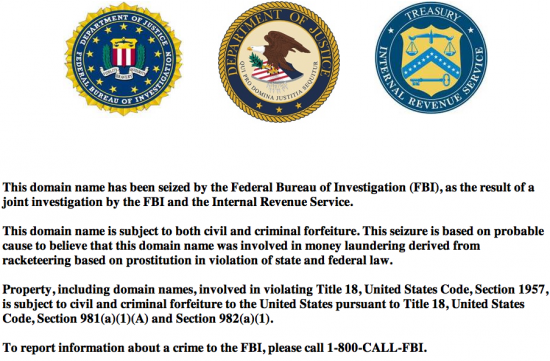 Visitors to sfredbook.com and myredbook.com will see this notice from the FBI.