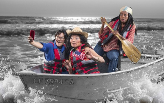 "From left: Lisa Hori-Garcia as Jeanine Adenauer, Keiko Shimosato Carreiro as Sunny Nguyen, and Velina Brown as Deborah Johnson in San Francisco Mime Troupe's ""Ripple Effect."" (Photo by DavidAllenStudio.com)"