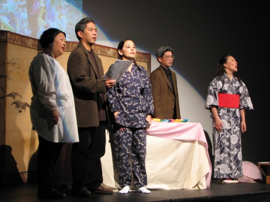 A scene from Grateful Crane Ensemble's presentation at last year's Sadako commemoration. (J.K. YAMAMOTO/Rafu Shimpo)