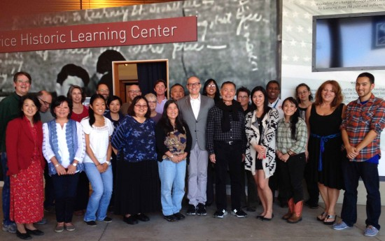 George and Brad Takei (front row, center) at the MIS Historic Learning Center in the Presidio of San Francisco. NJAHS Executive Director Rosalyn Tonai is at left.