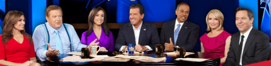 "The hosts of ""The Five."" Bob Beckel is second from left."