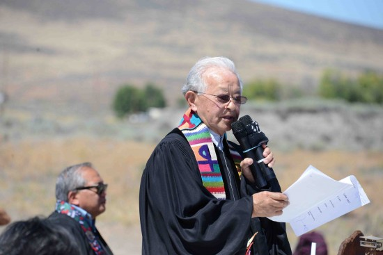 Rev. Saburo Masada speaking at this year's Tule Lake Pilgrimage.