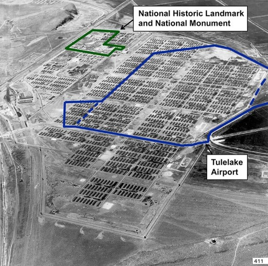 The outlines of the Tule Lake National Monument and of the Tulelake Municipal Airport are superimposed on a wartime photo of the Tule Lake Segregation Center.