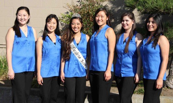 Nisei Week Queen candidates (from left) Melissa Kozono, Ashley Arikawa, Lindsey Sugimoto, Tiffany Hashimoto, Dominique Mashburn and Tori Nishinaka-Leon.