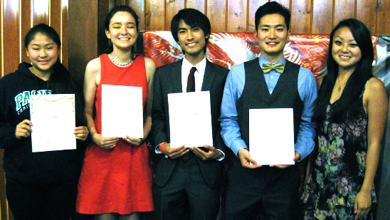 Scholarship winners, from left, Cami Nagai (representing her brother Grant), Lily Sloan, Jason Oyakawa and Edward Kobayashi, with 2013 Miss Western Los Angeles Steffi Fukunaga.