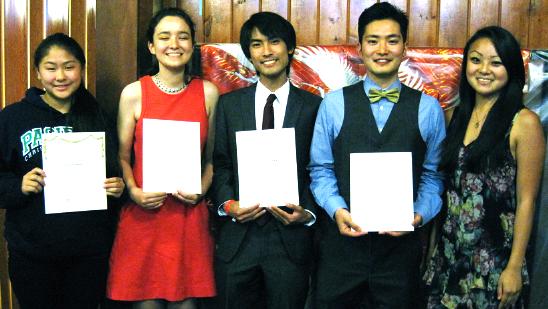 Scholarship winners, from left, Cami Nagai (representing her brother Grant), Lily Sloan, Jason Oyakawa and Edward Kobayashi, with 2013 Miss Western Los Angeles Steffi Fukunaga.