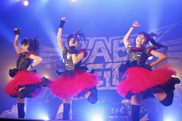 Babymetal members Yuimetal, left, Su-metal and Moametal perform July 27 at the Fonda Theatre. (Darren Yamashita)