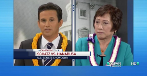 Sen. Brian Schatz and Rep. Colleen Hanabusa debated before the Aug. 9 primary.