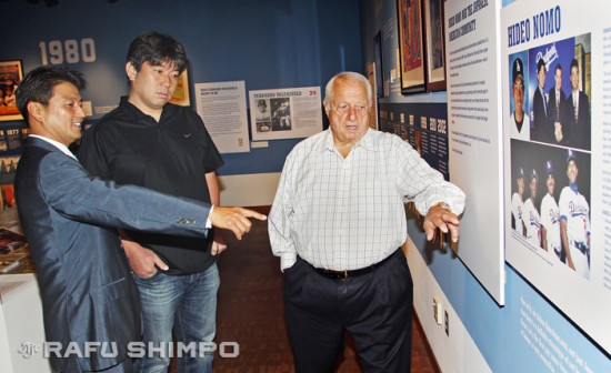 Nomo listens as Acey Kohrogi, left, and Tommy Lasorda reminisce at JANM's Dodgers exhibit.