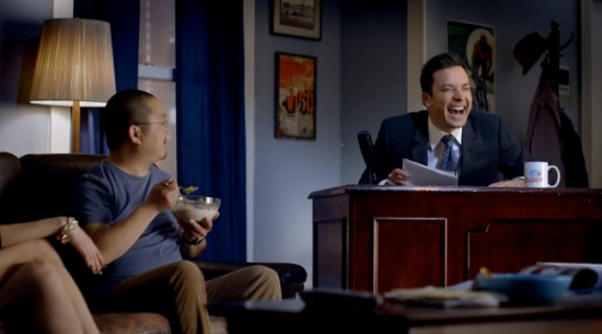 "In a commercial for Time Warner, Aaron Takahashi is having breakfast when ""Tonight Show"" host Jimmy Fallon and his band appear in his living room."
