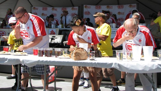 "Mary ""I Like 'Em Hot"" Bowers (center) was the most fashionable competitor with a ramen-inspired skirt, but finished in 14th place with 61 gyoza."