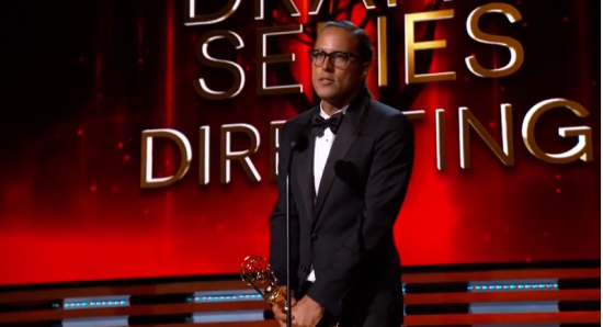 Cary Joji Fukunaga gives his acceptance speech. (NBC)