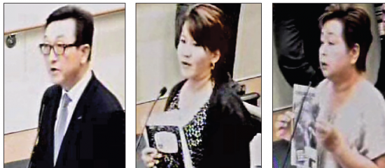 In these images from a video feed of the Aug. 19 Fullerton City Council meeting, speakers for and against the comfort women resolution included, from left, Joachim Youn, Amy Watanabe and Terumi Imamura.