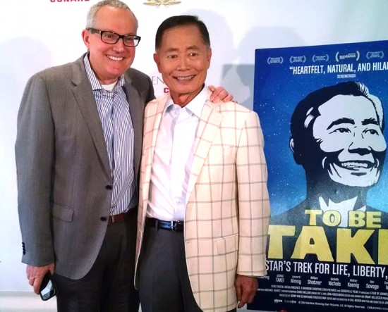 "George and Brad Takei at a screening of the documentary ""To Be Takei."""