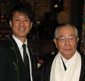 Yuji Sasaki, Sadako Sasaki's nephew, and Bishop Taisen Miyata.