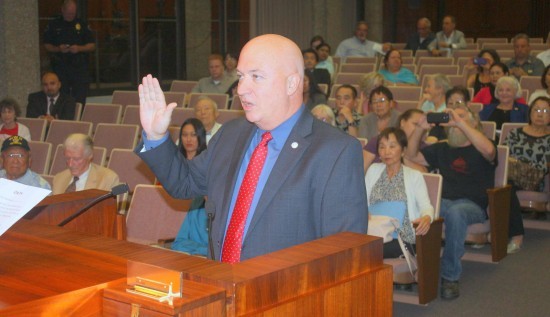 Michael Griffiths takes the oath of office as a member of the Torrance City Council. (City of Torrance photo)