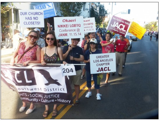 The PSW JACL marchers, not all visible in the photo, were Harold Kameya, riKu Matsuda, Lloyd Ishimaru, Joyce Okazaki, Randy Yamashita, Annie Kim Noguchi, Craig Kaneshiro, Phil Shigekuni, Nancy Takayama, Bruce Embrey, Louise Sakamoto, Stephanie Nitahara, and Rev. Karen Faye Ramos, associate pastor, Centenary United Methodist Church.