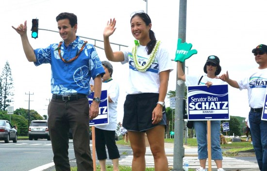 Sen. Brian Schatz and his wife Linda get out the vote on Election Day.