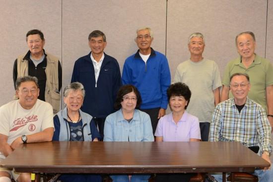 Reunion committee members: (front row, from left) Kenny Ina, Yoshiko Takemoto Ho, Doris Arikawa Sasaki, June Yamagishi  Kawaguchi, Kaz Naganuma; (back row, from left) Nob Fukuda, Mike Fujimoto, John Kobayashi, Tommy Arikawa, Akio Inouye. (Photo courtesy Kenny Ina)