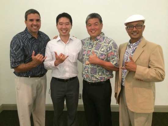 A show of Democratic unity by 1st Congressional District candidates Ikaika Anderson, Mark Takai.