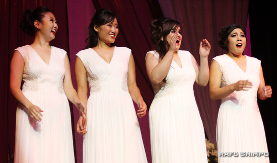 Nishinaka-Leon reacts as her name is called as the 2014 Nisei Week Queen. She is joined onstage by (from left) Melissa Kozono, Tiffany Hashimoto and Dominique Mashburn. (MARIO G. REYES/Rafu Shimpo)