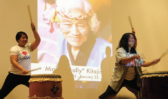 Genki Spark members pay tribute to longtime Tule Lake Committee member and taiko drummer Molly Kitajima, who passed away earlier this year. (Photo by Martha Nakagawa)