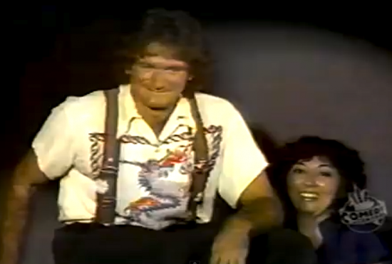 """While taping an HBO special at the Roxy in 1978, just a few weeks after """"Mork and Mindy"""" premiered, Robin Williams went into the audience and introduced Ellen Endo as a censor from ABC. She said it was """"my 15 seconds of fame ... literally."""" (Comedy Central)"""