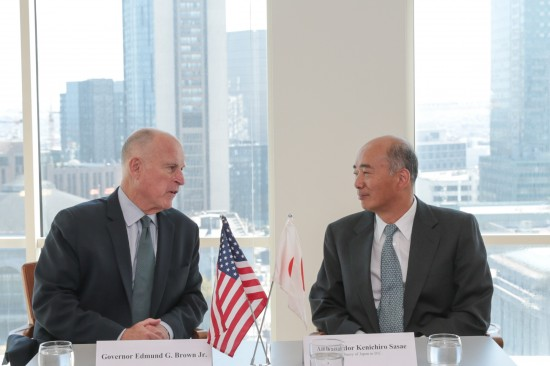 Gov. Jerry Brown and Japanese Ambassador to the U.S. Kenichiro Sasae meet at the Consulate General of Japan in San Francisco. (Photo by Justin Short)