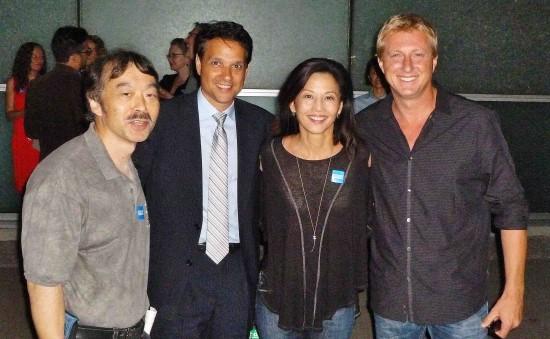 From left: Ralph Macchio, Tamlyn Tomita, and Billy Zabka.