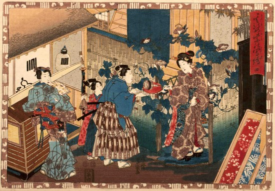 """Utagawa Kunisada (1786-1865), published by Izumiya Ichibei. No. 4 (Yon) from the series """"His Figure: Related Copies of Other Pictures, or Magic Lantern Slides of That Romantic Purple Figure"""" (Sono sugata Yukari no Utsushi-e), 1850. Woodblock print; ink and color on paper. Oban. Scripps College Collections, Gift of Mrs. Frederick S. Bailey, 2012.8.4."""
