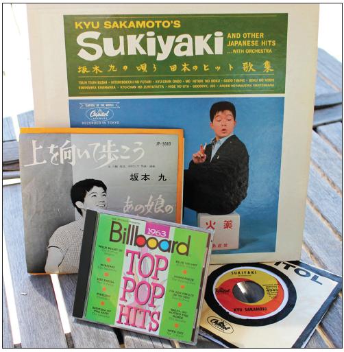 "Kyu Sakamoto's ""Sukiyaki"" U.S. LP and 7"", Japanese 7"" and Billboard's CD containing the song."