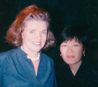 Lillian Lincoln Howell with former KTSF staff member Janice Lim.
