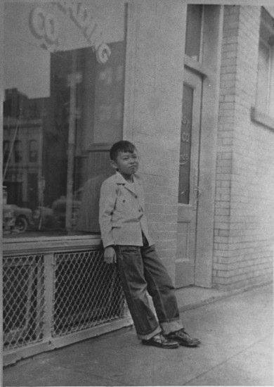 Hiroshi Matsushima in front of Anzen Trading Company, c. 1950. (Courtesy of Yoji Matsushima)